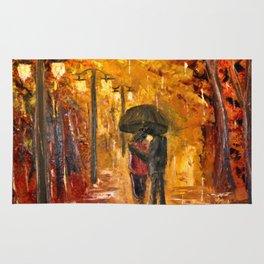 Les amoureux sous la pluie Rug