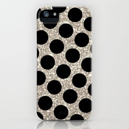 Silver Glitter and Black Polka Dot iPhone Case