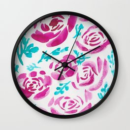 7  |  190412 Flower Abstract Watercolour Painting Wall Clock