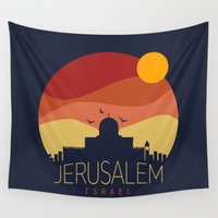 jewish Wall Tapestries featuring israel  by mark ashkenazi
