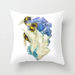 Bees on Fluorite Throw Pillow