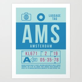 Retro Airline Luggage Tag 2.0 - AMS Amsterdam Airport Netherlands Art Print