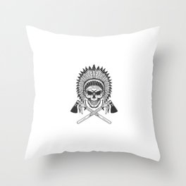 Vintage Monochrome Indian Chief Skull Throw Pillow