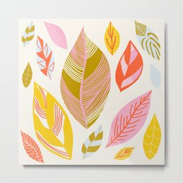Timberlee, modern autumn leaves Metal Print