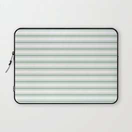 Moss Green and White Mattress Ticking Wide Striped Pattern Laptop Sleeve
