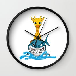 "Giraffe Themed Top For Zoo Goers ""Shark Ocean"" T-shirt Design Sea Creatures Oceanic Attack Dangerous Wall Clock"