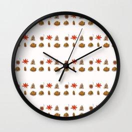 fall patterns watercolor Wall Clock