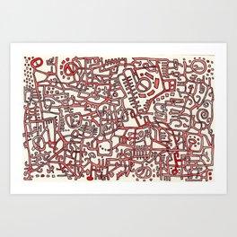 Begin/End Series in Red Art Print