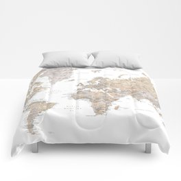 World map in spanish, taupe and light brown watercolor Comforters