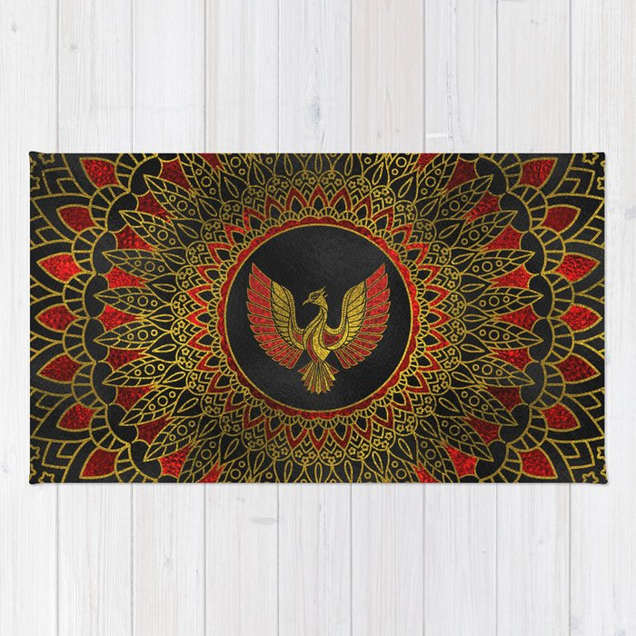 Gold And Red Decorated Phoenix Bird Symbol Rug By K9printart Society6