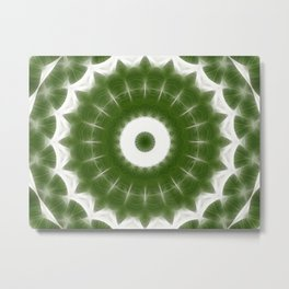 Green White Kaleidoscope Art 7 Metal Print