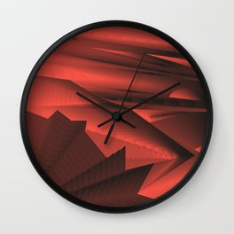 Strange gentle landscap with stylised mountains, sea and red Sun. Wall Clock