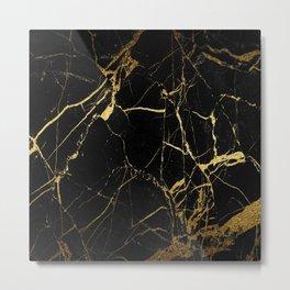 Black-Gold Marble Impress Metal Print