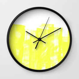 Rolled Ink Texture in Bright Yellow and White Wall Clock
