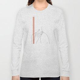 Hands line drawing illustration - Danna stripe Long Sleeve T-shirt