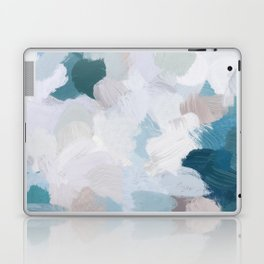 Turquoise Navy Blue Blush Pink Gray White Abstract Painting, Modern Wall Art, Digital Print Laptop & iPad Skin