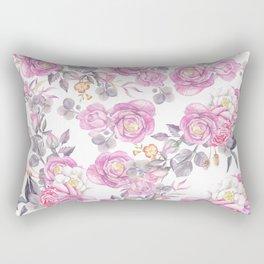 Elegant pink gray watercolor botanical roses flowers Rectangular Pillow