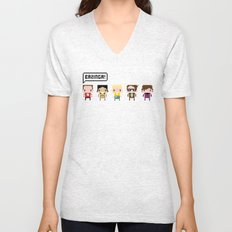 The Big Bang Theory Pixel Characters Unisex V-Neck