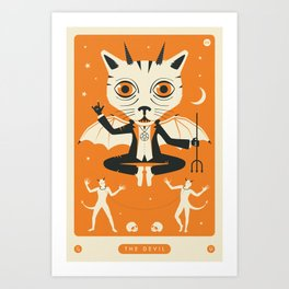 TAROT CARD CAT: THE DEVIL Art Print