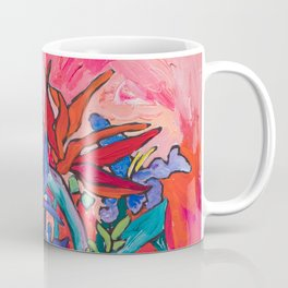 Persephone Painting - Bouquet of Iris and Strelitzia Flowers in Greek Horse Vase Against Coral Pink Coffee Mug