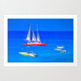 Caribbean Catamaran Art Art Print