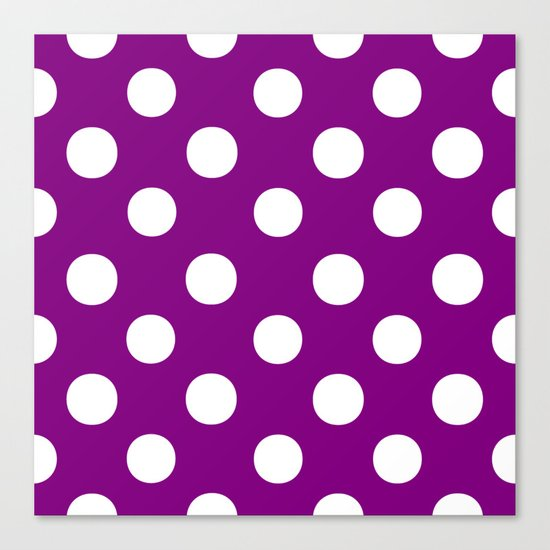 Polka Dots (White/Purple) Canvas Print
