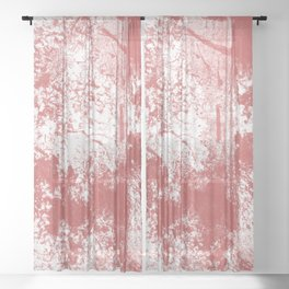 Abstract Forest Trees Watercolor Brown Red Sheer Curtain