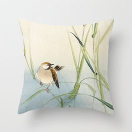 Sparrow and Butterfly  - Vintage Japanese Woodblock Print Art Throw Pillow