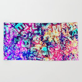 Alphabet Pastel Abstract Pattern Design Beach Towel