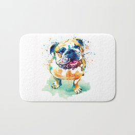 Watercolor Bulldog Bath Mat