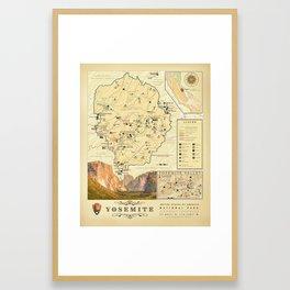 "California's ""Yosemite Nat'l Park"" Vintage Area Map Framed Art Print"