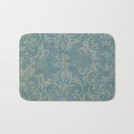 Antique rustic teal damask fabric Bath Mat
