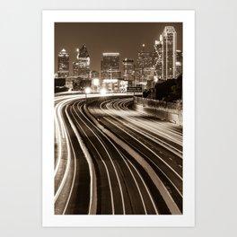 Dallas Texas Night Time Sepia Skyline Art Print