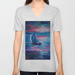Sailing Boat Sunrise Unisex V-Neck