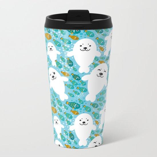 White cute fur seal and fish in water Metal Travel Mug