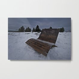 Lonley Bench At Snowy Kahler Asten Metal Print