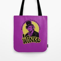 willy wonka Tote Bags featuring Willy W quote by Buby87