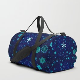 Blue Snowflakes Pattern Duffle Bag