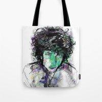 bob dylan Tote Bags featuring Bob Dylan by Irmak Akcadogan