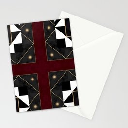 FourSquared  Black White Red Gold Pattern Stationery Cards