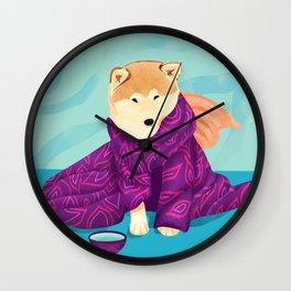 Shiba Inu Wearing a Purple Kimono, Enjoying Matcha Tea Wall Clock