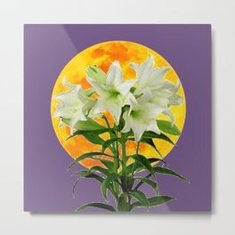 EASTER LILIES ON LILAC GOLDEN MOON ABSTRACT Metal Print