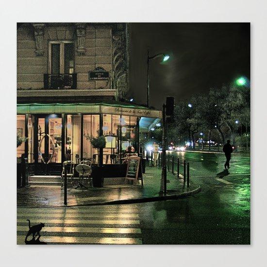 Paris Cafe at Night Canvas Print