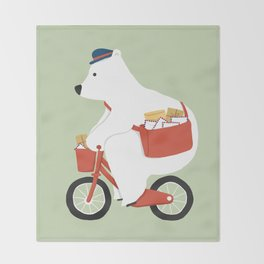 Polar bear postal express Throw Blanket