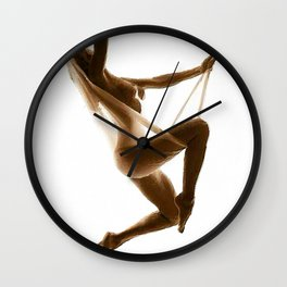 Nude Woman Suspended On Silk Sepia On White Wall Clock