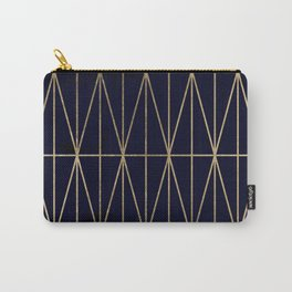 Modern gold geometric triangles pattern navy blue watercolor Carry-All Pouch