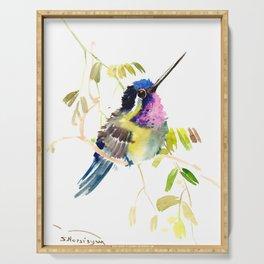 Little bird children illustration hummingbird Serving Tray