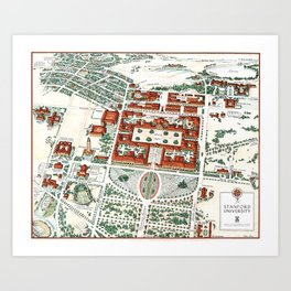 STANFORD CALIFORNIA University map Art Print