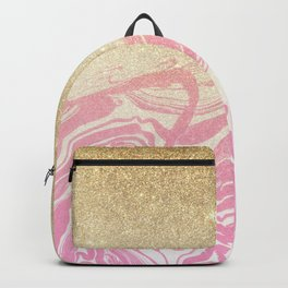 Pink white faux gold glitter modern marble Backpack