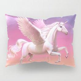 Flying unicorn at sunset Pillow Sham
